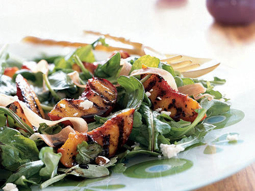 Grilled Peaches over Arugula with Goat Cheese and Prosciutto