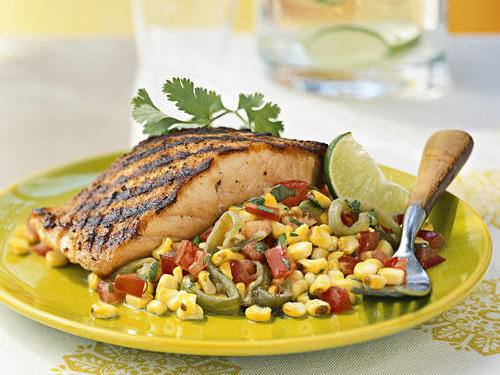 Charring the chiles, corn, and salmon on the grill infuses everything with a light smoky flavor that brings the whole dish together.