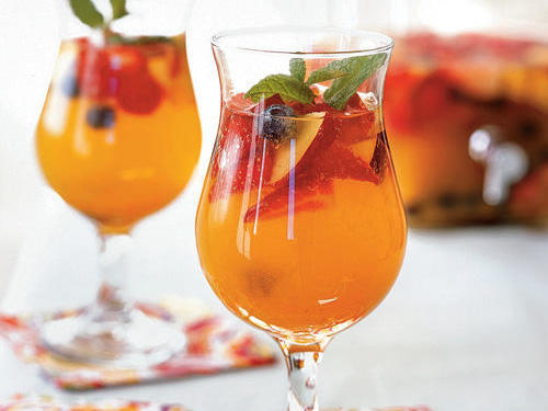 This effervescent creation contains lots of fruit for sweetness and summer flavor of course, and then we add cava, a Spanish sparkling wine, for bubbles and a kick.
