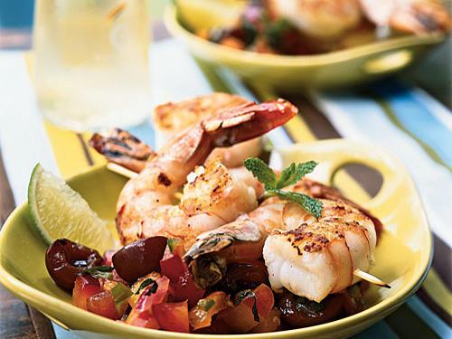 A sweet-spicy salsa packed with fresh fruit accentuates the natural sweetness of grilled shrimp in this recipe. If you've got leftovers, try shrimp-fruit salsa tacos for a new twist on the old classic, or top cooked fish with the salsa for an easy supper.