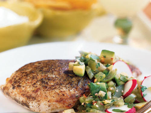 Tangy tomatillos join buttery avocados and peppery radishes in an unusual salsa that transforms an ordinary chicken breast into something special.