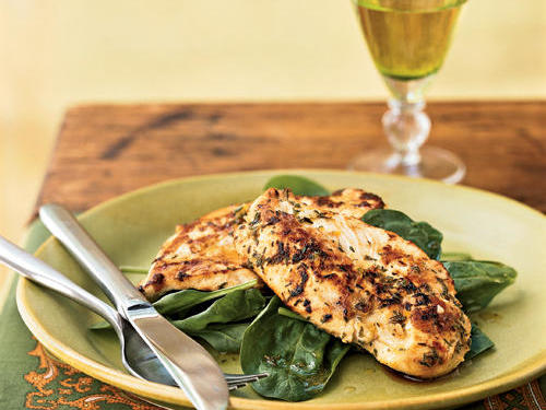 This recipe's super-speedy marinade doubles as a sauce. Served atop prewashed, bagged spinach, this meal is a breeze. If you're serving adults, try fruity cocktails as a fun complement.