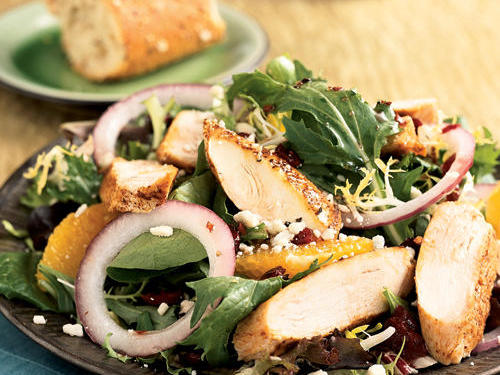 This superfast salad gets a boost from luscious pomegranate, which is packed with vitamin C and potassium. Sprinkle on other seasonal fruits for an additional nutrient boost. With just 6.7 grams of fat and 42.2 grams of protein per serving, you'll want to make this recipe a staple.