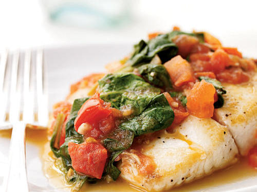 Now that your ab workout's complete, here's a dish that's almost as quick to make: flavorful snapper accented with fresh vegetables.