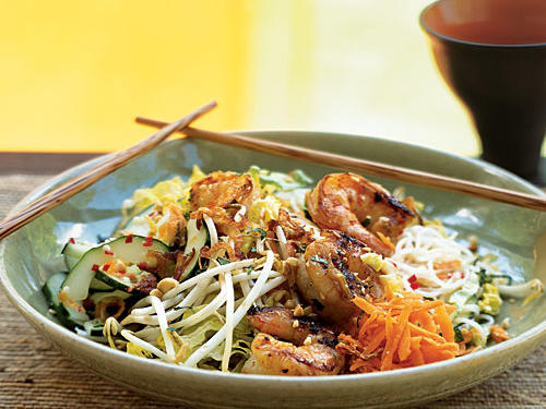 Lemongrass Shrimp over Rice Vermicelli and Vegetables
