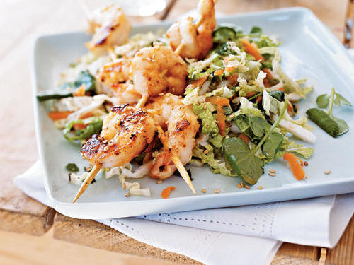 Fatty fish like salmon or tuna offer omega-3 fats, which help                           lower the risk for heart disease. The American Heart Association                           suggests eating at least two three-ounce cooked servings of fish                           per week.                                                                                   View Recipe: Sesame Shrimp Salad                            (pictured)                                                                                       View Recipe: Southwest Salmon Caesar