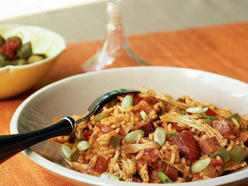 Andouille sausage adds a kick to the Cajun classic from Louisiana. Rice and shredded turkey absorb a flavorful mixture of tomatoes and spices until they're bursting with flavor.