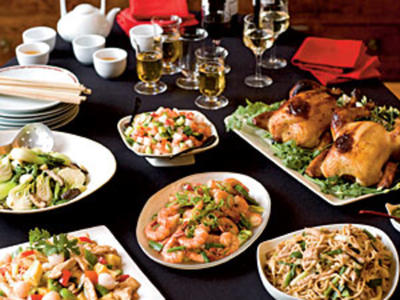 Chinese New Year dishes on a table