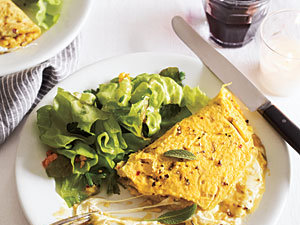 Breakfast for Dinner: Mozzarella Omelet with Sage and Red Chile Flakes Recipe