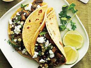 Mushroom, Corn, and Poblano Tacos Recipe