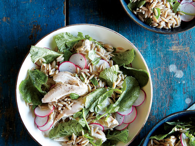 orzo salad with chicken and radishes
