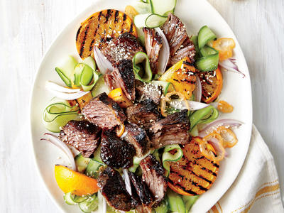 Short Ribs with Cucumber and Orange Salad