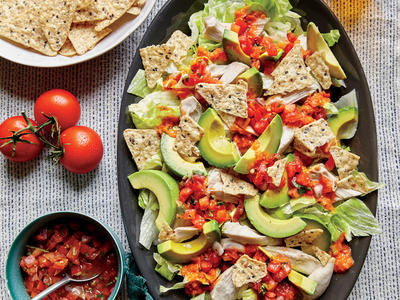 Shredded Chicken with Avocado Nacho Salad