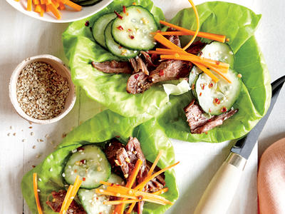 Slow Cooker Beef Lettuce Wraps with Quick Pickles