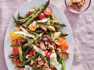 Roasted Asparagus with Walnuts, Parmesan, and Cherry Tomatoes