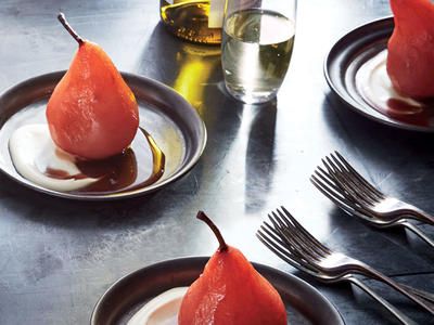 Hibiscus Poached Pears