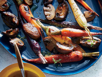 Maple-Dijon Roasted Carrots and Mushrooms