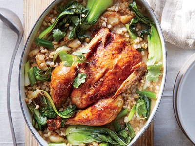 Miso-Ginger Braised Chicken with Bok Choy and Barley