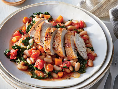 Tuscan Chicken with White Beans and Kale