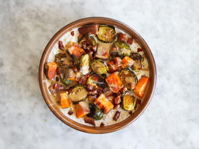 Brussels Sprouts Sweet Potato Overnight Oats