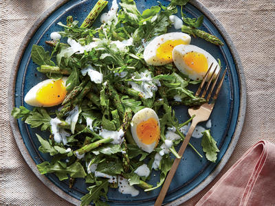 Arugula, Egg, and Charred Asparagus Salad