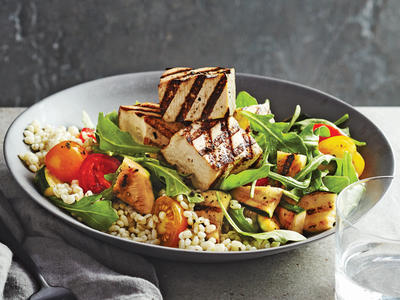 Beer-Brushed Tofu Skewers with Barley