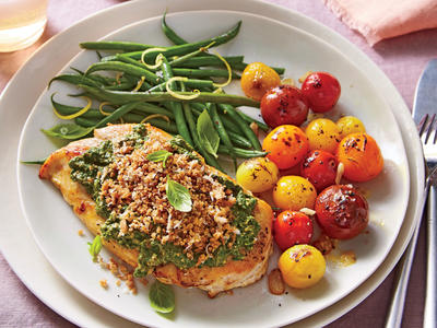 Pesto Chicken with Blistered Tomatoes