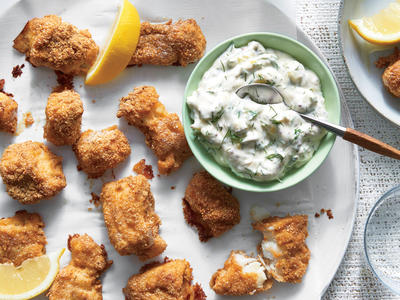 Quinoa-Crusted Fish Nuggets with Tartar Sauce