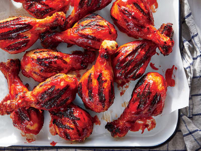 Grilled Chicken Drumsticks with Bourbon-Cherry BBQ Sauce