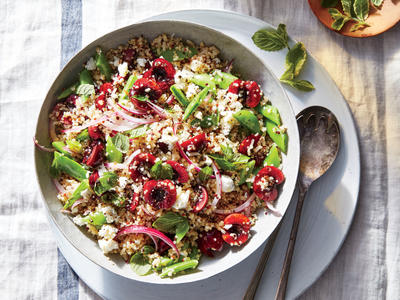 Mixed Grain, Cherry, and Snap Pea Salad