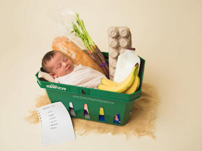 Baby in Grocery Basket