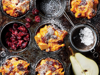 Muffin-Tin Pumpkin-and-Pear Stratas