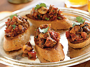Spicy Stir-Fried Mushroom Bruschetta Vegetarian Appetizer