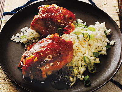 Ginger-Soy Chicken Thighs with Scallion Rice Recipes