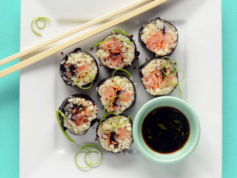Paleo Sushi Salmon Roll with Cauliflower Rice
