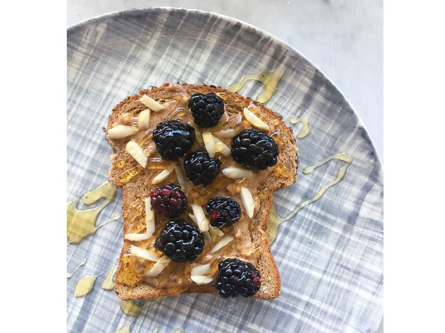 blackberry almond butter toast image