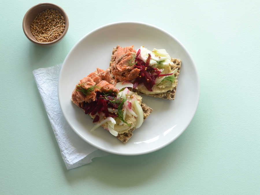 Salmon Tartine with Beet and Fennel