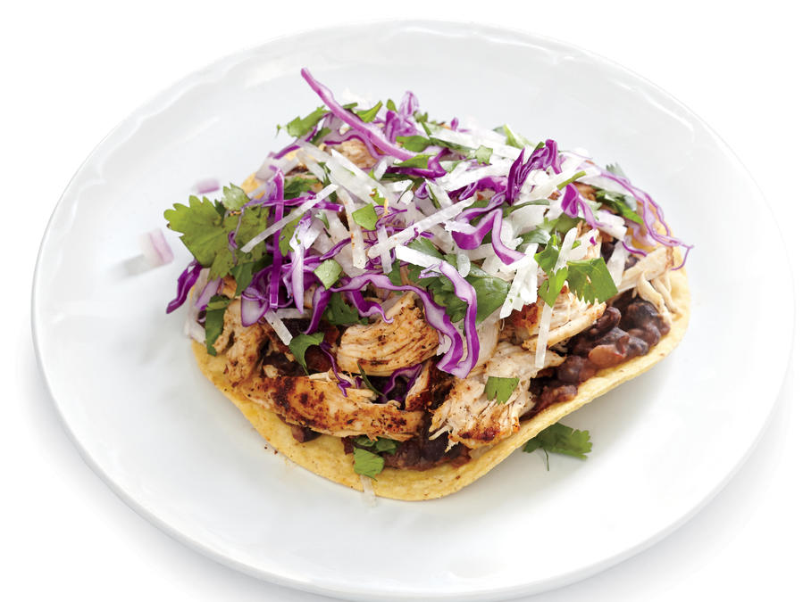Spicy chicken and black bean tostadas with jicama slaw recipe spicy chicken and black bean tostadas with jicama slaw recipe cooking light forumfinder Gallery