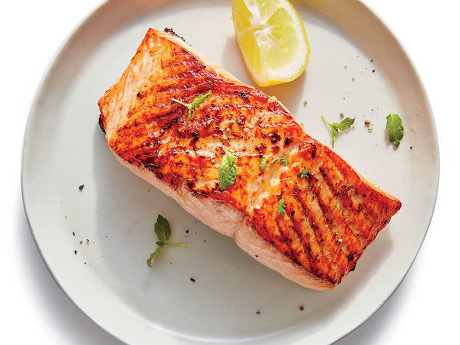 Broiled salmon with lemon recipe cooking light for Max fish menu