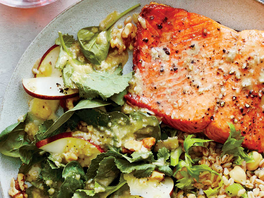 Pan-Seared Salmon with Pear and Walnut Spinach Salad