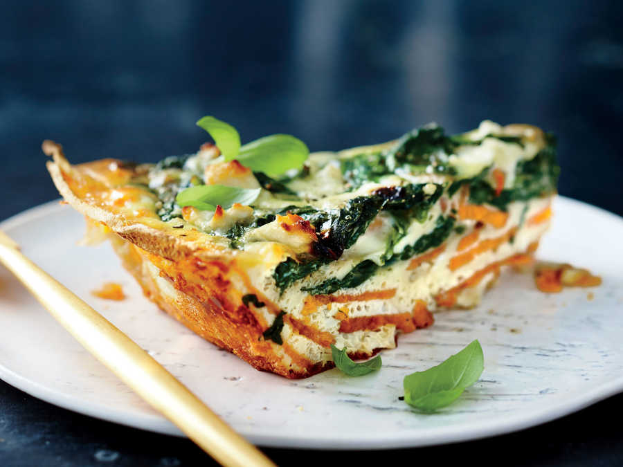 Spinach and Feta Quiche with Sweet Potato Crust
