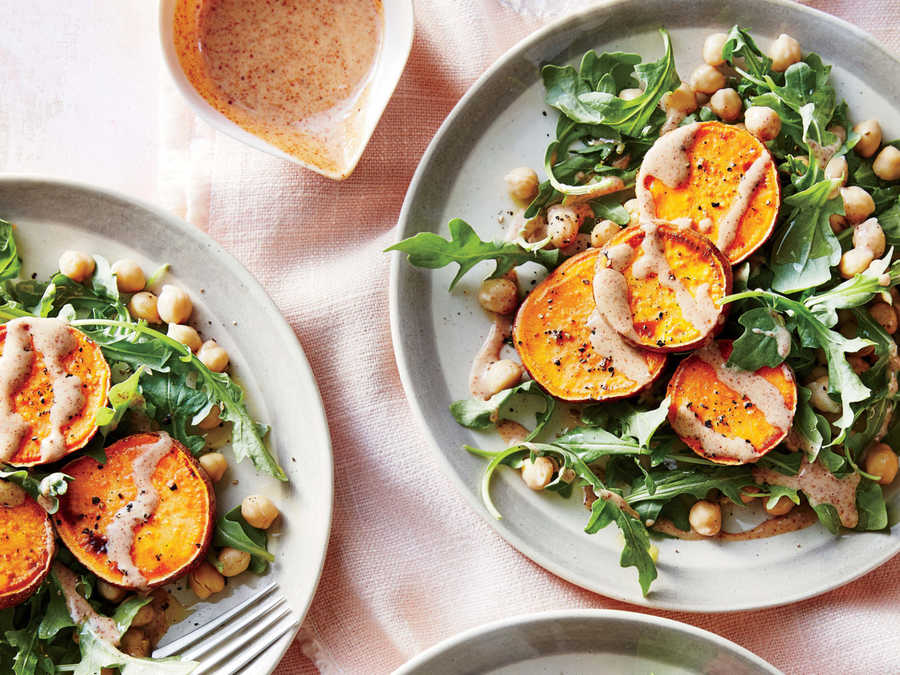 Sweet Potato Medallions With Almond Sauce And Chickpea Salad Recipe    Cooking Light