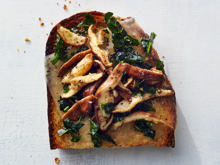 Kale, Swiss, and Shittake Toast