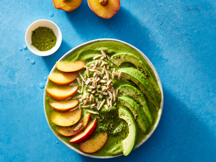 Peaches and Green Smoothie Bowl
