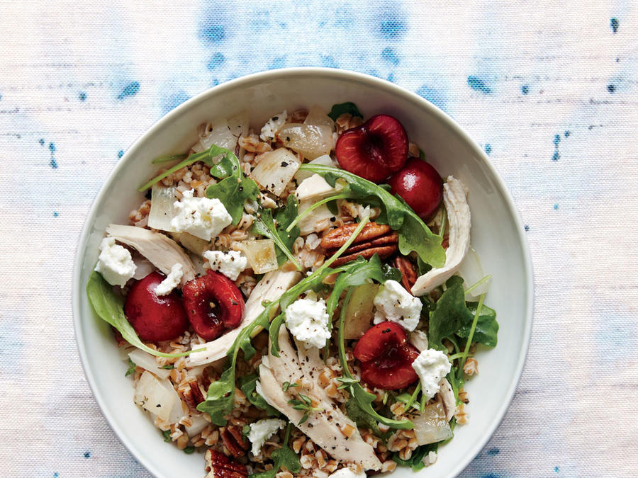Cherry, Chicken, and Pecan Wheat Berry Salad