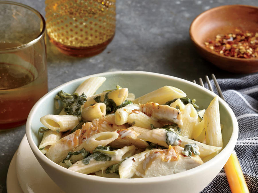 Two-Cheese Penne with Chicken and Spinach