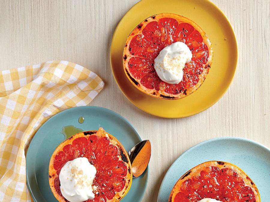 broiled grapefruit with ginger and maple cream recipe