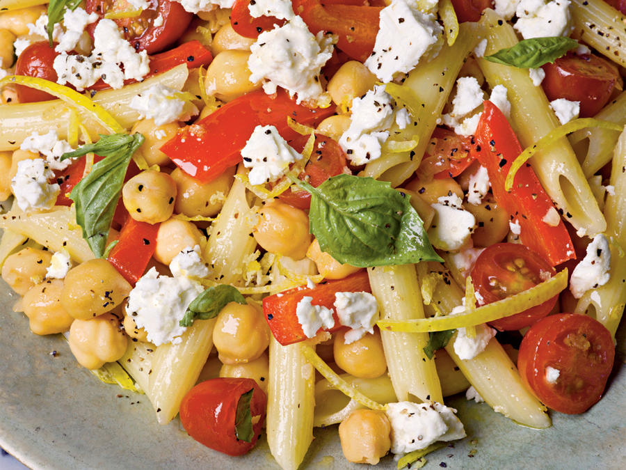 penne with chickpeas feta and tomatoes recipe