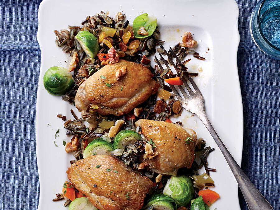 Braised Chicken Thighs with Wild Rice Pilaf