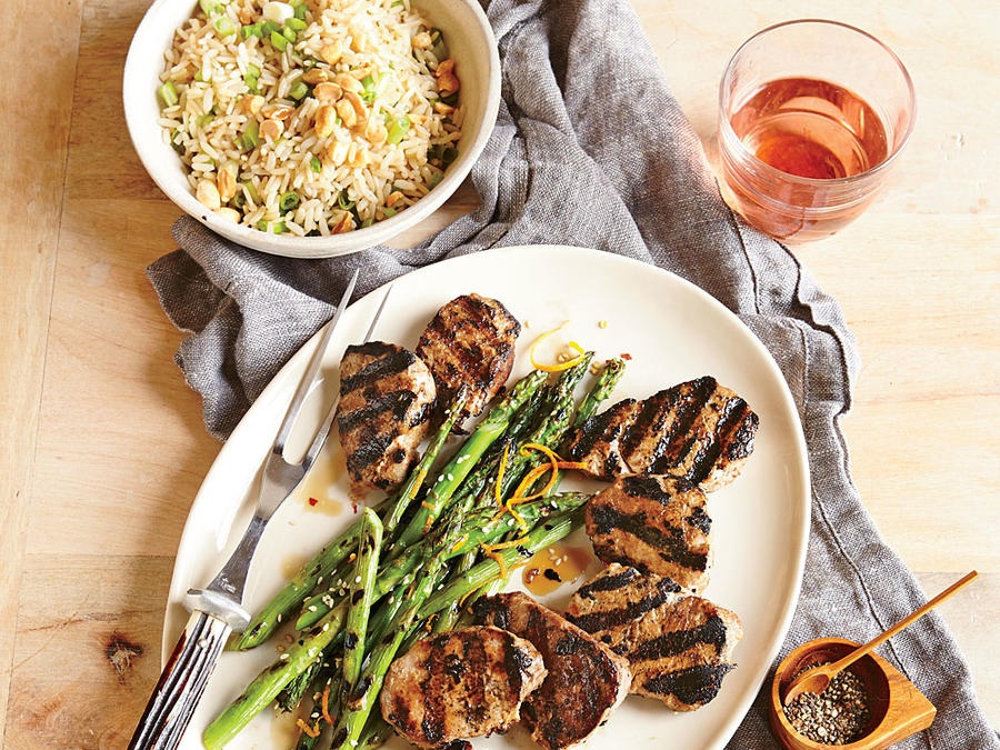 Grilled pork tenderloin with orange sesame asparagus and for Summer fish and rice